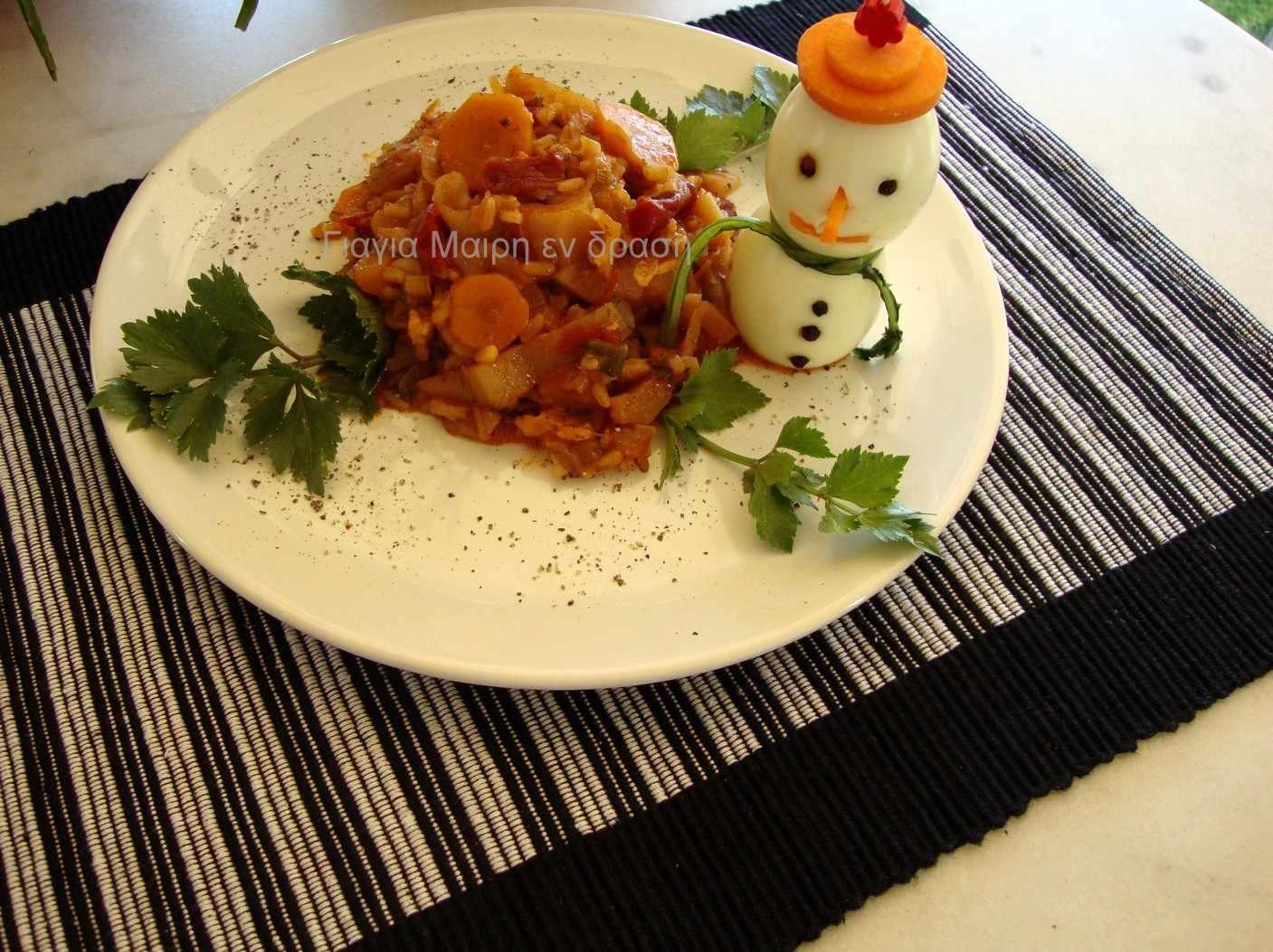 Λαχανόρυζο με λιαστή ντομάτα