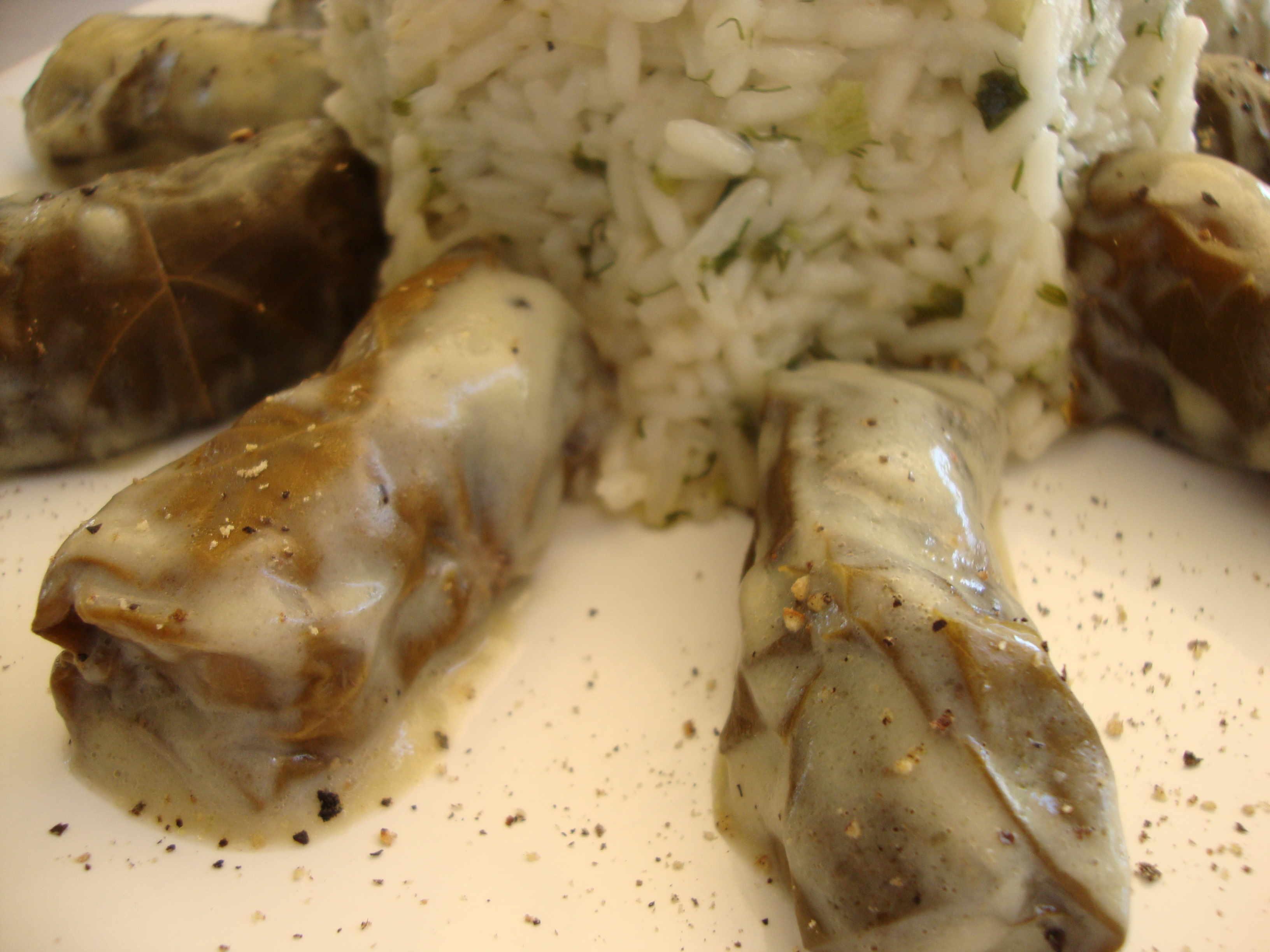 ντολμαδάκια κοτόπουλο & το ρυζάκι απ έξω