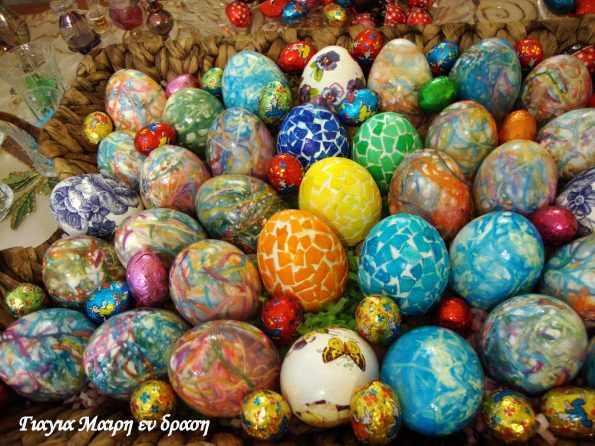 Πασχαλινά αυγά με κλωστές φλος