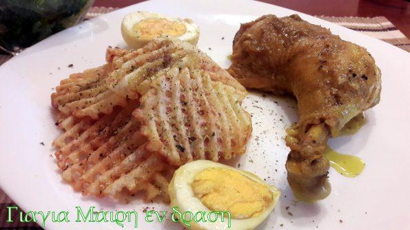 Κοτόπουλο με αυγά και κάρυ